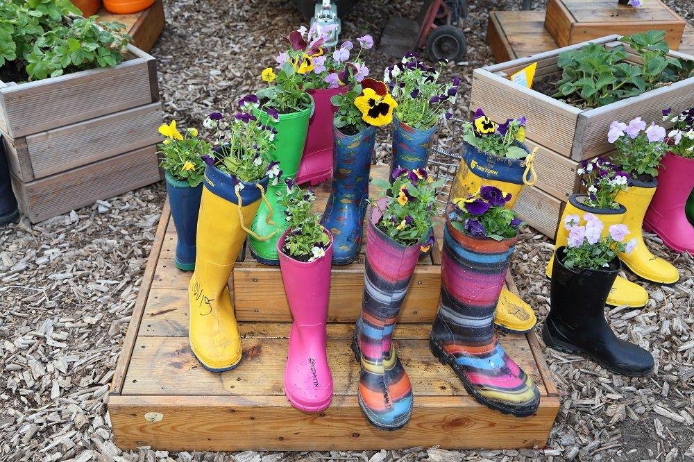Die Gummistiefel wurden von Kindern aus der Nachbarschaft bepflanzt
