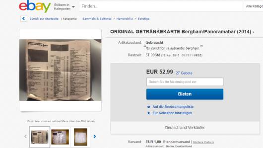 Ein Screenshot des aktuellen Ebay-Angebots