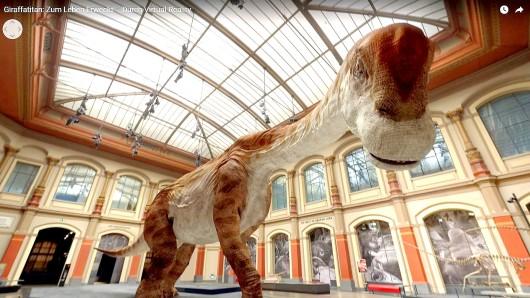 In der Animation scheint sich der riesige Brachiosaurus brancai dem Betrachter gefährlich zu nähern