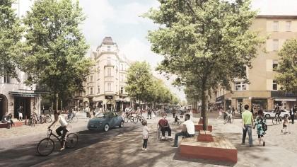 Die Maaßenstraße soll umgestaltet werden. Hier die Visualisierung einer möglichen Variante