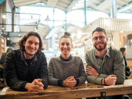 Die Gründer des Food-Start-ups Holycrab Lukas Bosch, Juliane Bublitz undAndreas Michelus.