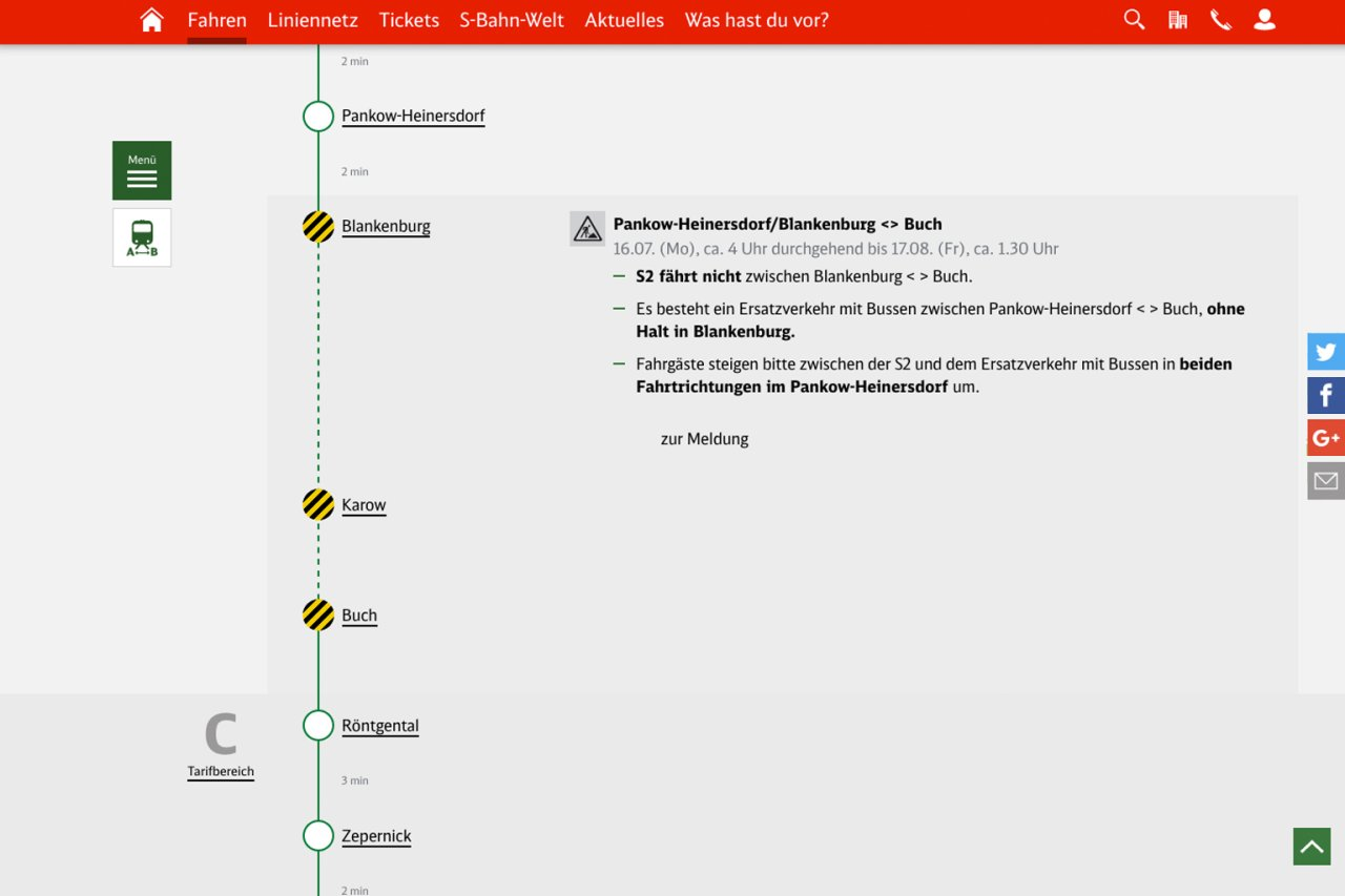 Störungen und Bauarbeiten werden im Linienverlauf detailliert angezeigt. Wer weitere Informationen wünscht, kann sich weiter zur zugehörigen Störungsmeldung klicken.