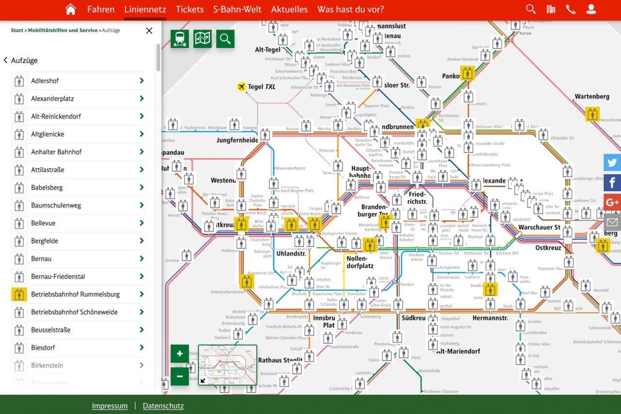 Auch darüber, ob ein Bahnhof barrierefrei ist und ob aktuell alle Aufzüge und Rolltreppen vor Ort in Betrieb sind, gibt der interaktive Netzplan Auskunft.
