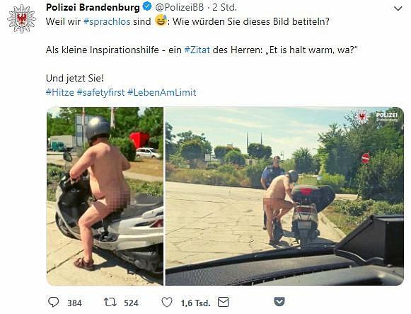Die Polizei Brandenburg twitterte am Mittwoch diese Bilder eine nackten Rollerfahrers.