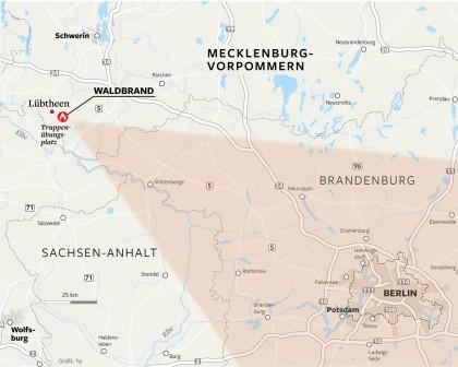 Berlin Potsdam Karte.Waldbrand In Mecklenburg Feuer Erstmals Im Griff Berlin