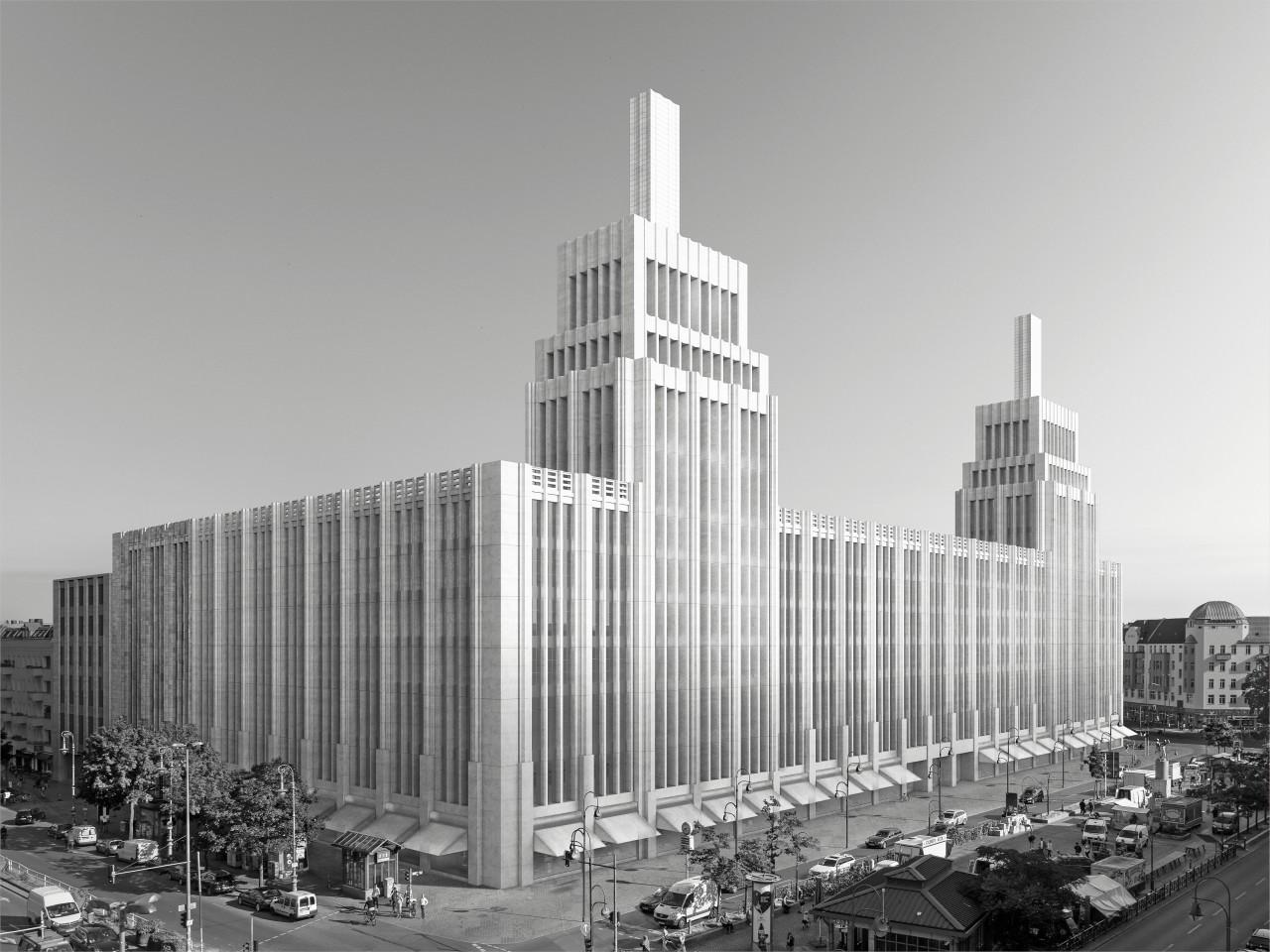 So soll die Rekonstruktion der historischen Karstadt-Filiale am Herrmannplatz einmal aussehen. (Simulation)