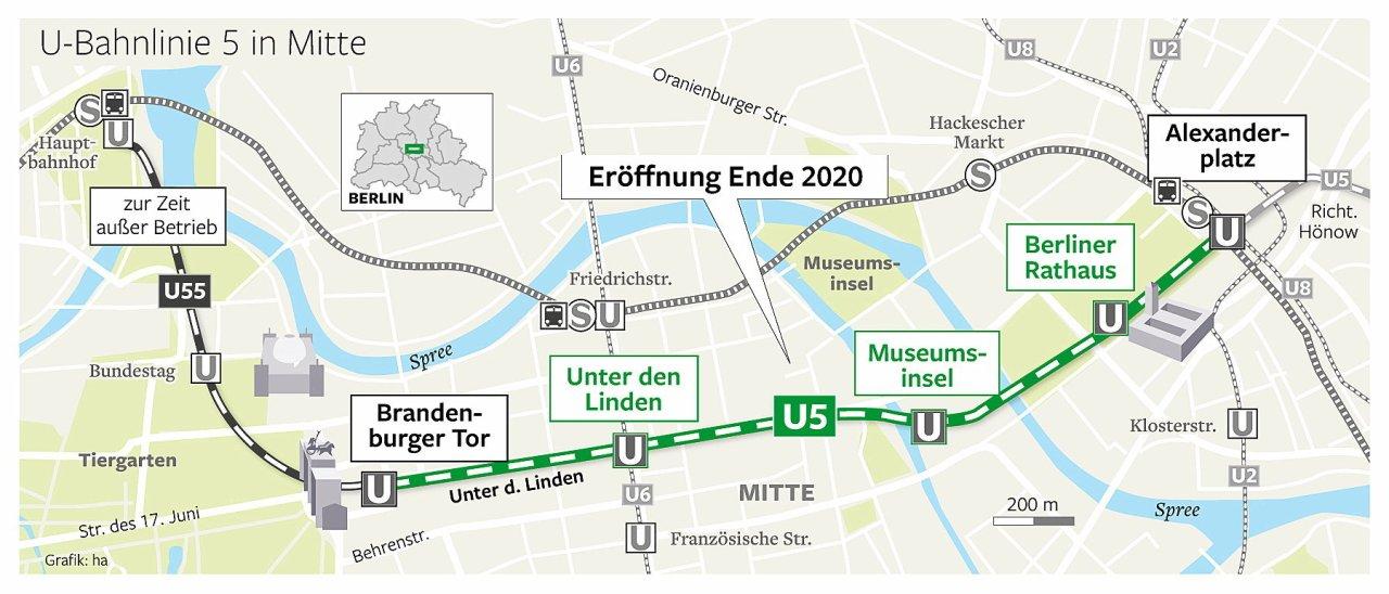 Der Verlauf der U-Bahn Linie U5.