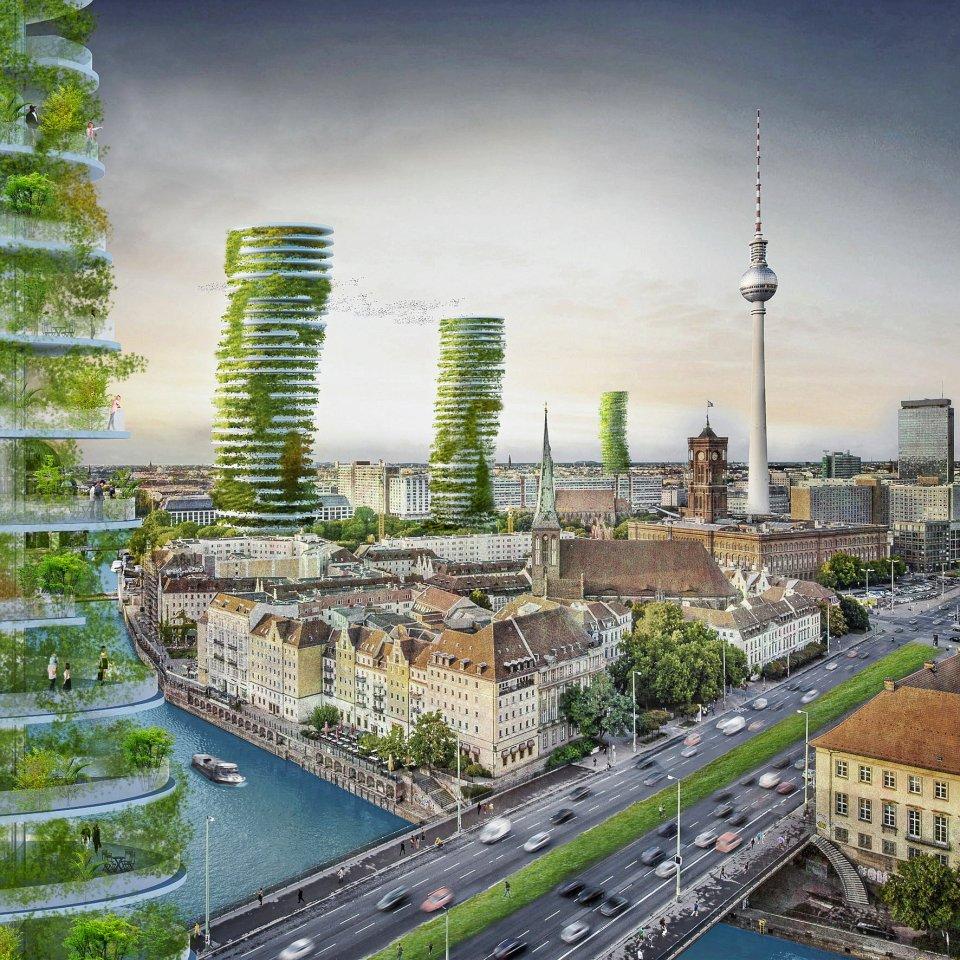 """Nachverdichtung muss nicht grau, sondern kann auch grün sein, wie die """"Vertical Gardens""""-Hochhäuser zeigen, die Agnieszka Preibisz für die Ausstellung """"Der Himmel über Berlin"""", ein Beitrag der BDA-Galerie zur Architektur- und Städtebaudiskussion in Berlin, bereits 2015 entworfen hat."""