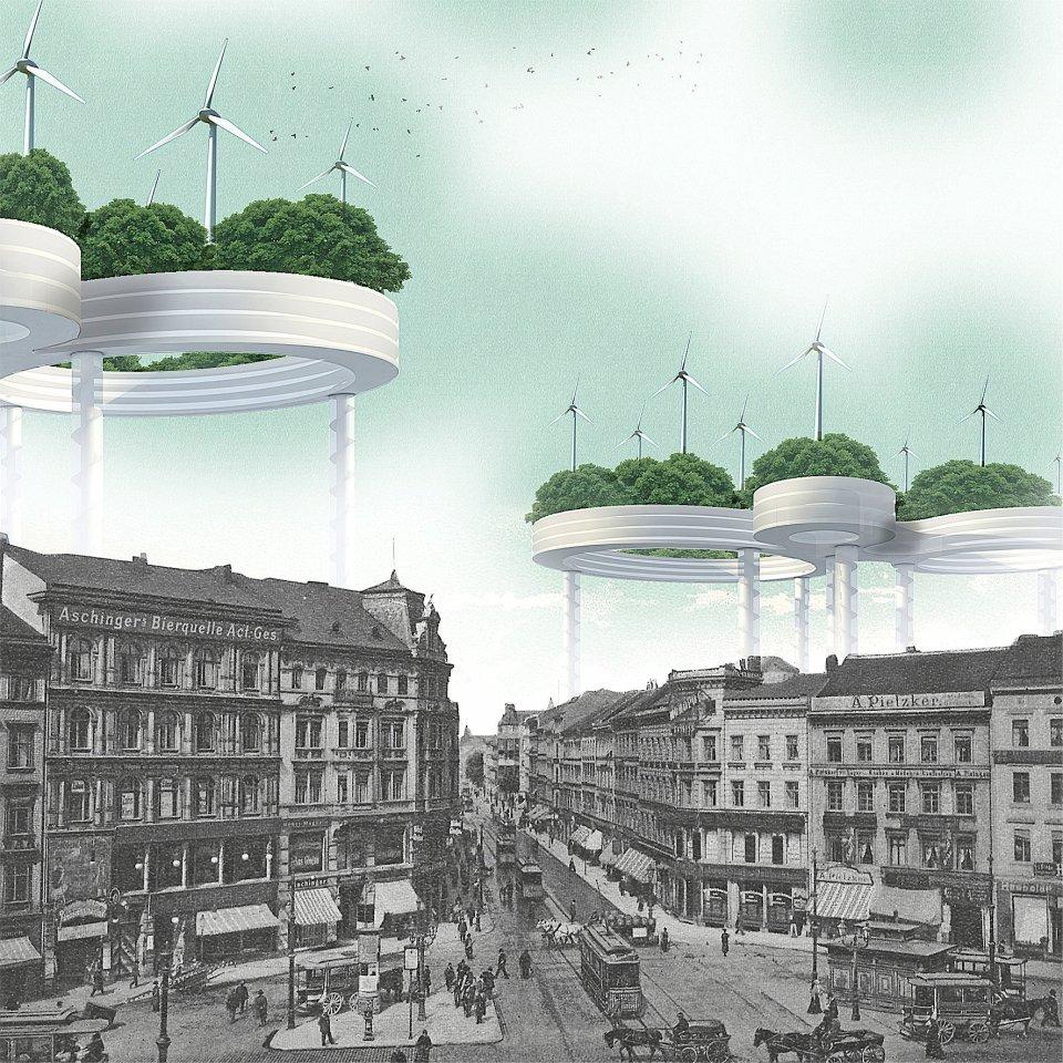 Die Stadt muss grüner werden und ihre Energie selber erzeugen – und wenn am Boden kein Platz ist, dann eben am Himmel über Berlin. Tim Kossel reichte sein WOLKENKUCKUCKS-HEIM in der Reihe 40/40 als Beitrag der BDA-Galerie zur Architektur- und Städtebaudiskussion in Berlin ein.