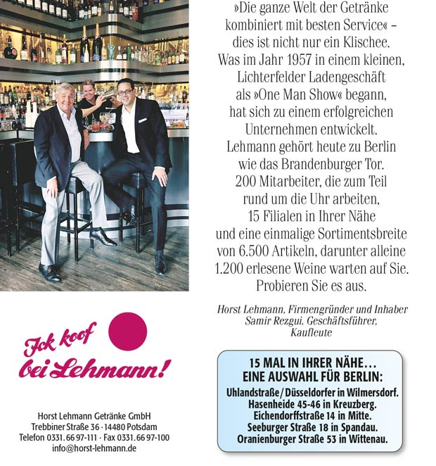 Koof doch bei Lehmann! - Berlins-Erste-Adresse - Berliner Morgenpost