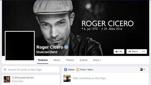 Screenshot der Faceboo-Seite von Roger Cicero
