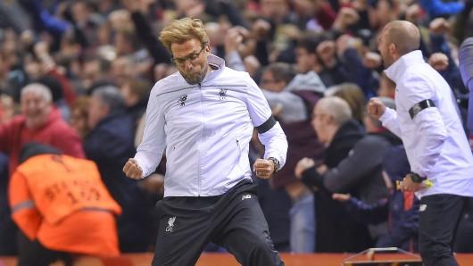 Liverpools Trainer Jürgen Klopp lässt seiner Freude freien Lauf