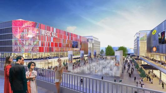 Bis Herbst 2018 entsteht auf dem Mercedes Platz das neue Herzstück des Areals rund um die Mercedes-Benz Arena