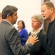 Katina Schubert mit Klaus Lederer (r.) und SPD-Fraktionschef Raed Saleh