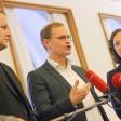 Der Landesvorsitzende der Linken, Klaus Lederer, der Regierende Bürgermeister Michael Müller (SPD) und die Fraktionschefin der Grünen, Ramona Pop