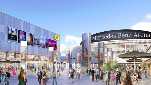 Die Simulation zeigt, wie es an der Arena ab Herbst 2018 aussehen soll. Für die UCI-Kinowelt (links) wurde am Donnerstag der Grundstein gelegt