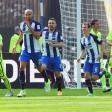 Brooks, Ibisevic und Darida bejubeln das 1:0  für Hertha