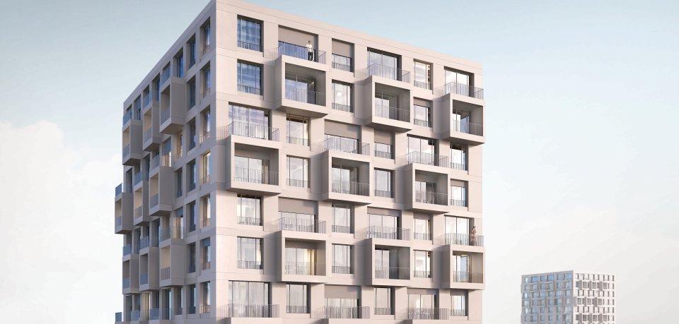 So stellen sich die Architekten des Büros Kleihues+Kleihues ein Typenhochhaus vor. Großzügige Öffnungen und vorgehängte Loggiaelemente sorgen für eine prägnante Gestalt. Viele Teile sollen vorgefertigt sein