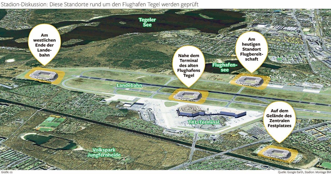 Die potenziellen Standorte für ein Hertha-Stadion am Flughafen Tegel, die unlängst geprüft wurden.