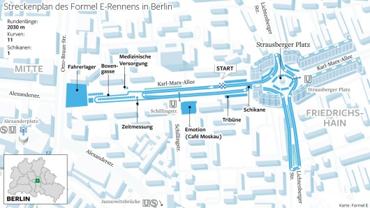 Der Streckenplan des Elektorauto-Rennens in Berlin. Es führt über die Karl-Marx-Allee