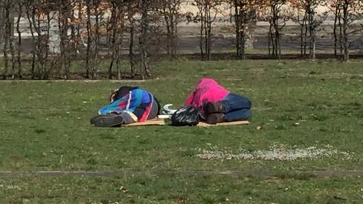 Mittagsschlaf im Freien in Berlin