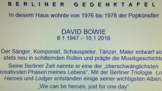 Gedenktafel für David Bowie