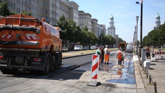 Bauarbeiten an der Frankfurter Allee