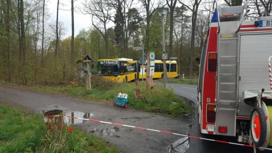 Bei einem Wendemanöver in Berlin-Buch hat sich ein BVG-Bus festgefahren