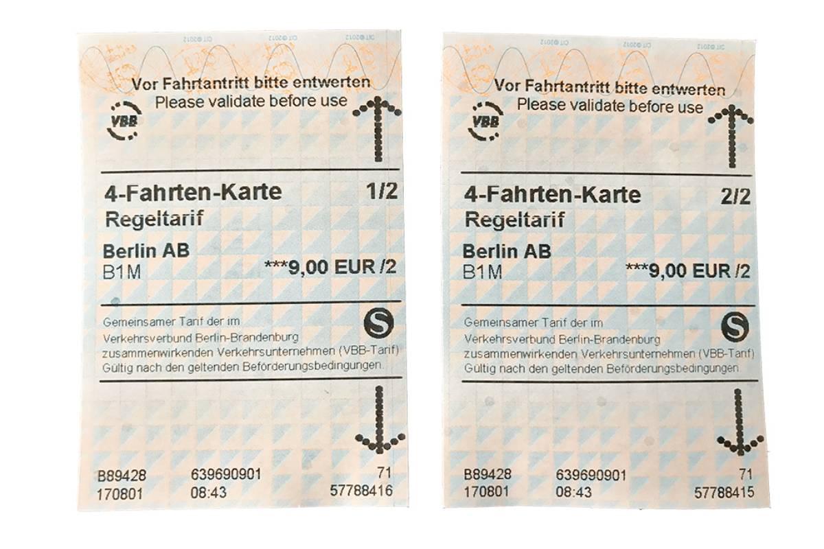 4 Fahrten Karte Bvg.4 Fahrten Karte Der S Bahn Gibt S Plotzlich Als Zwei Tickets