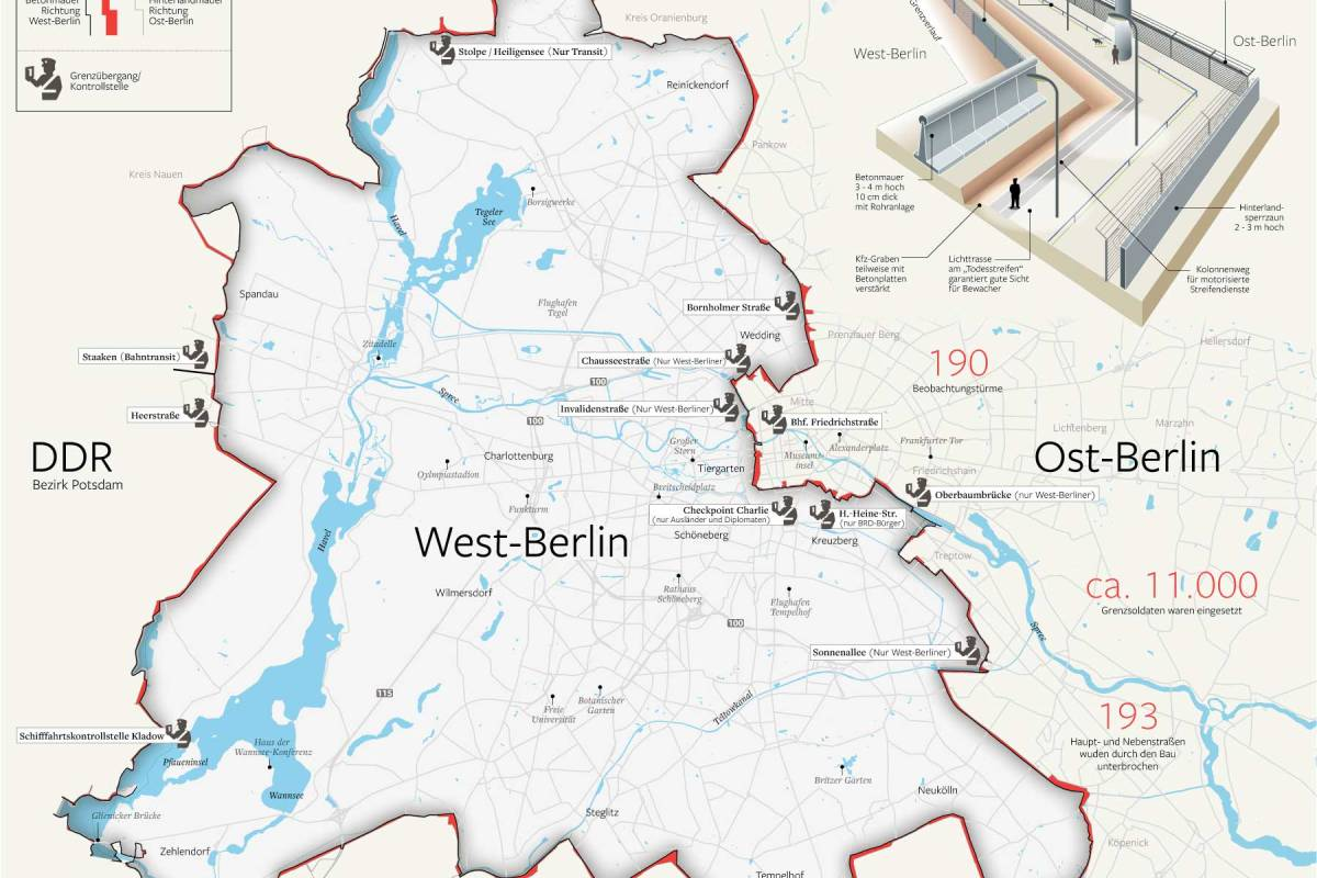 Bau Der Berliner Mauer Karte.Was Von Todesstreifen Und Teilung Blieb Berlin Aktuelle