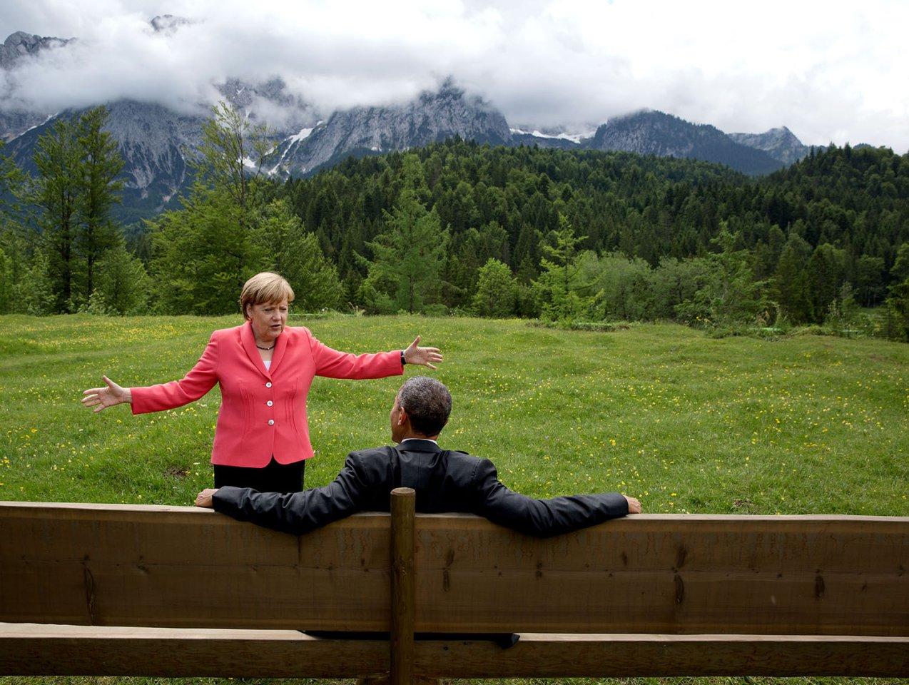 Barack Obama mit Angela Merkel beim G7-Gipfel in Deutschland