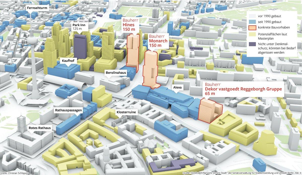 Auf der  Grafik ist zu sehen, wie sich die Gegend rund um den Alexanderplatz in den vergangen Jahren verändert hat