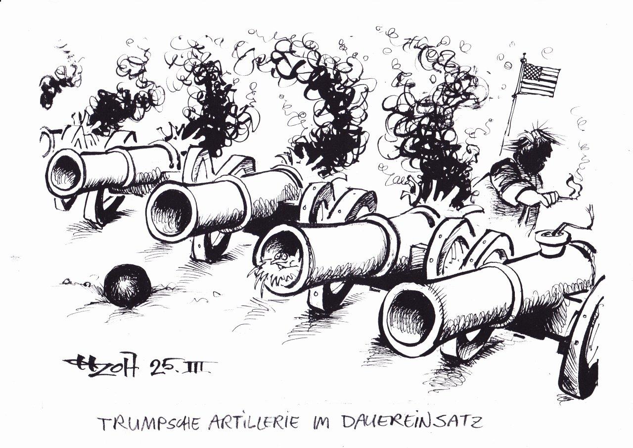 Trumpsche Artillerie im Dauereinsatz