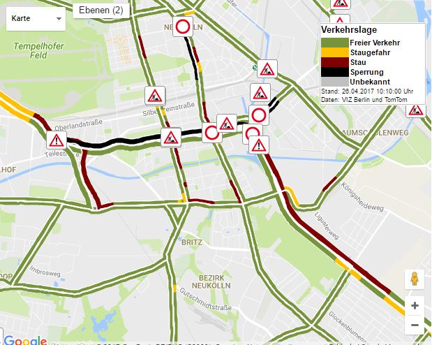 Auf der Stadtautobahn A100 hat sich in Tempelhof ein Unfall ereignet. Autofahrer müssen mit langen Staus rechnen.