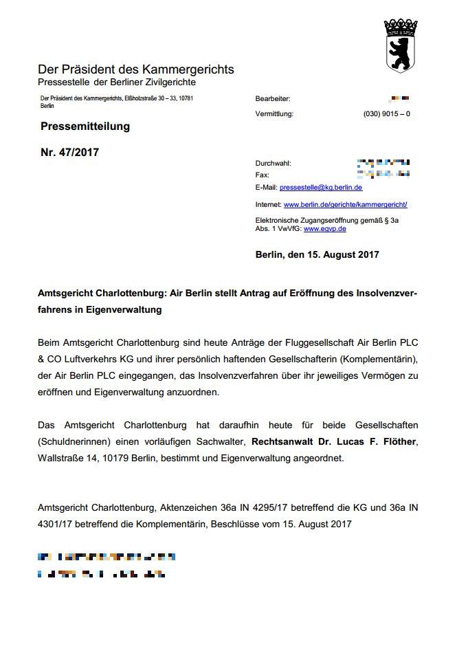 Der Insolvenzantrag in der Pressemitteilung des Amtsgerichts Charlottenburg