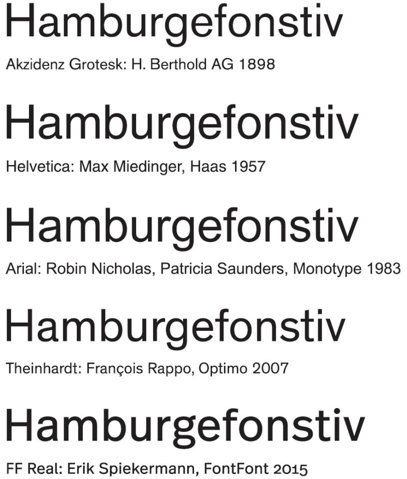 """Die Mutter unserer Groteskschriften und einige ihre Kinder, von 1957 bis 2015. """"Hamburgefonstiv"""" ist das übliche Testwort"""