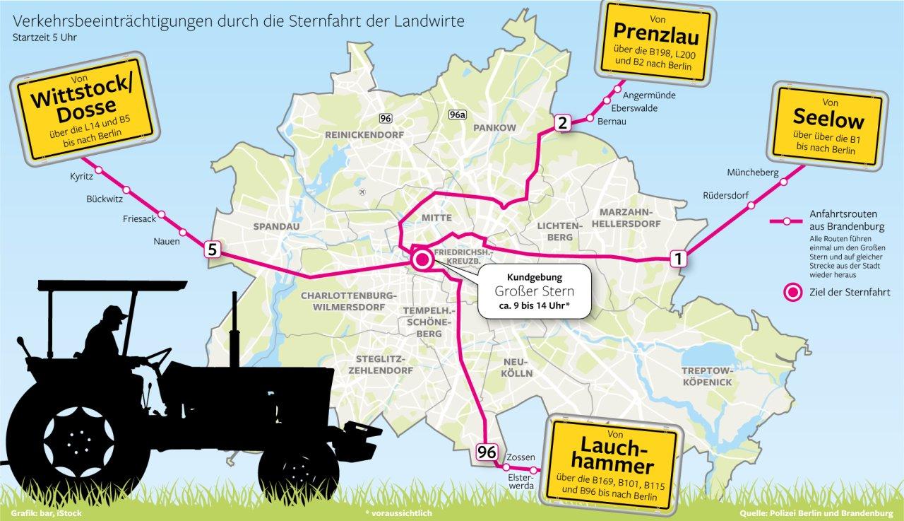 Landwirte demonstrieren am Dienstag in Berlin gegen die Agrarpolitik des Bundes. Die Polizei rechnet mit Behinderungen.