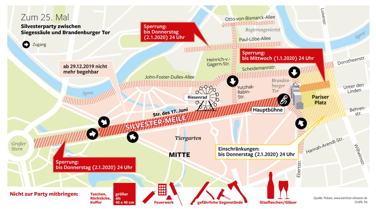 Siilvester in Berlin: Der Plan der Partymeile am Brandenburger Tor.