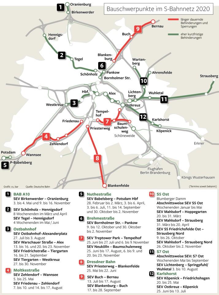 Wegen Bauarbeiten müssen mehrere Linien der Berliner S-Bahn in diesem Jahr an einigen Stellen länger gesperrt werden. Alle Problemstellen im Überblick und als große Grafik.