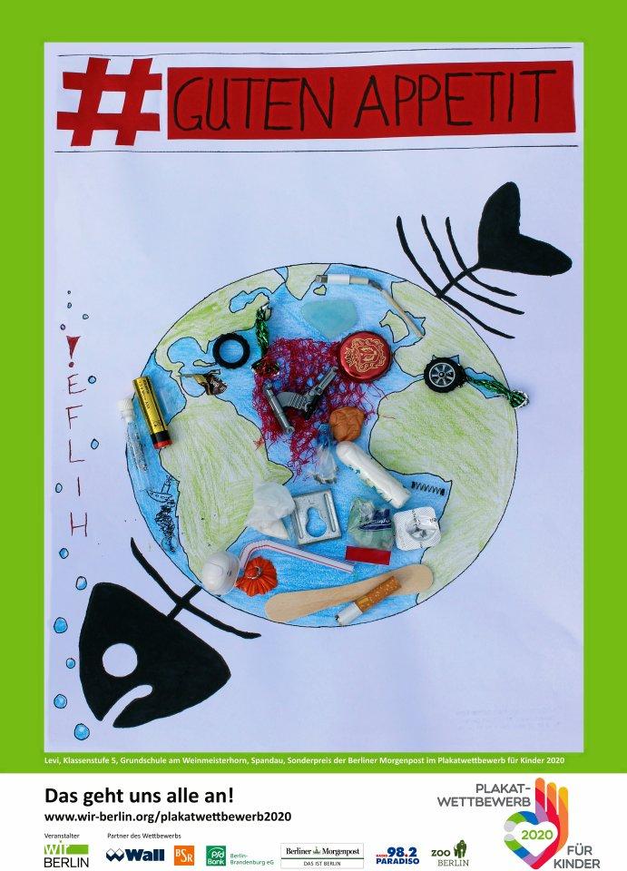 Sonderpreis der Berliner Morgenpost: Der zehnjährige Levi von der Grundschule am Weinmeisterhorn in Spandau gestaltete eine Collage.