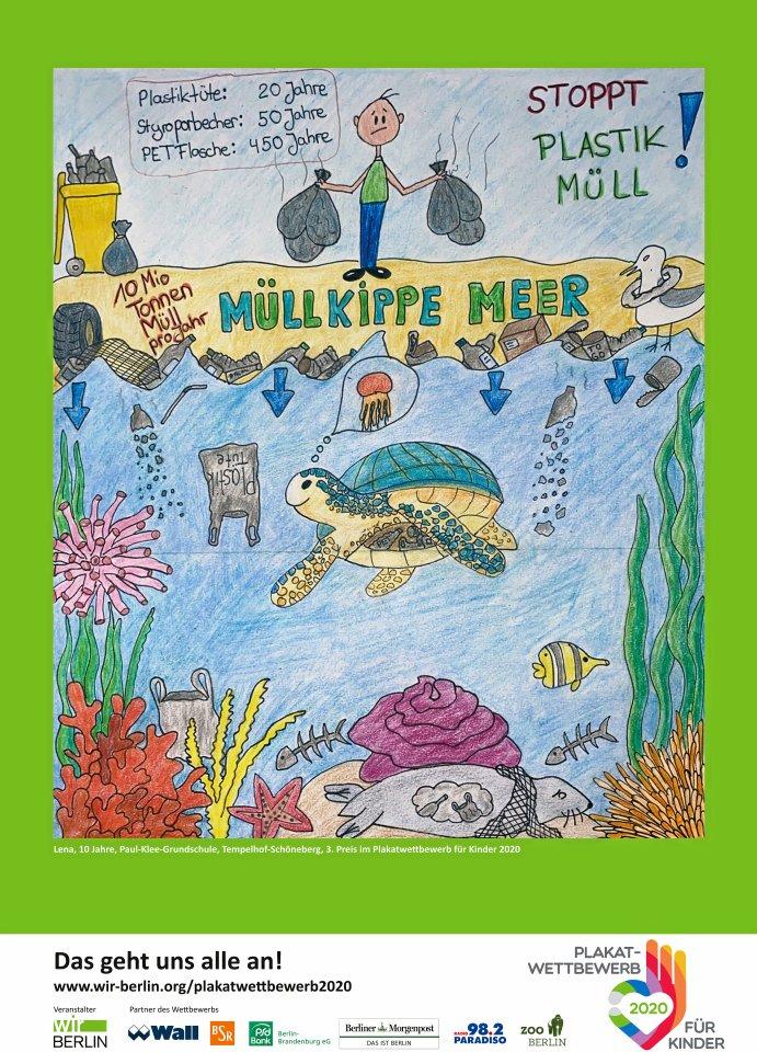 3. Preis: Die zehnjährige Lena von der Paul-Klee-Grundschule in Tempelhof-Schöneberg zeichnete dieses Plakat.