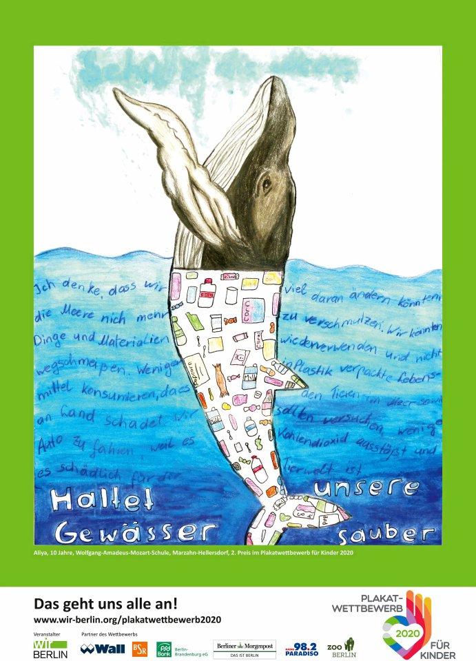 2. Platz: Die zehnjährige Aliya von der Wolfgang-Amadeus-Mozart-Schule in Marzahn-Hellersdorf malte diesen Wal.