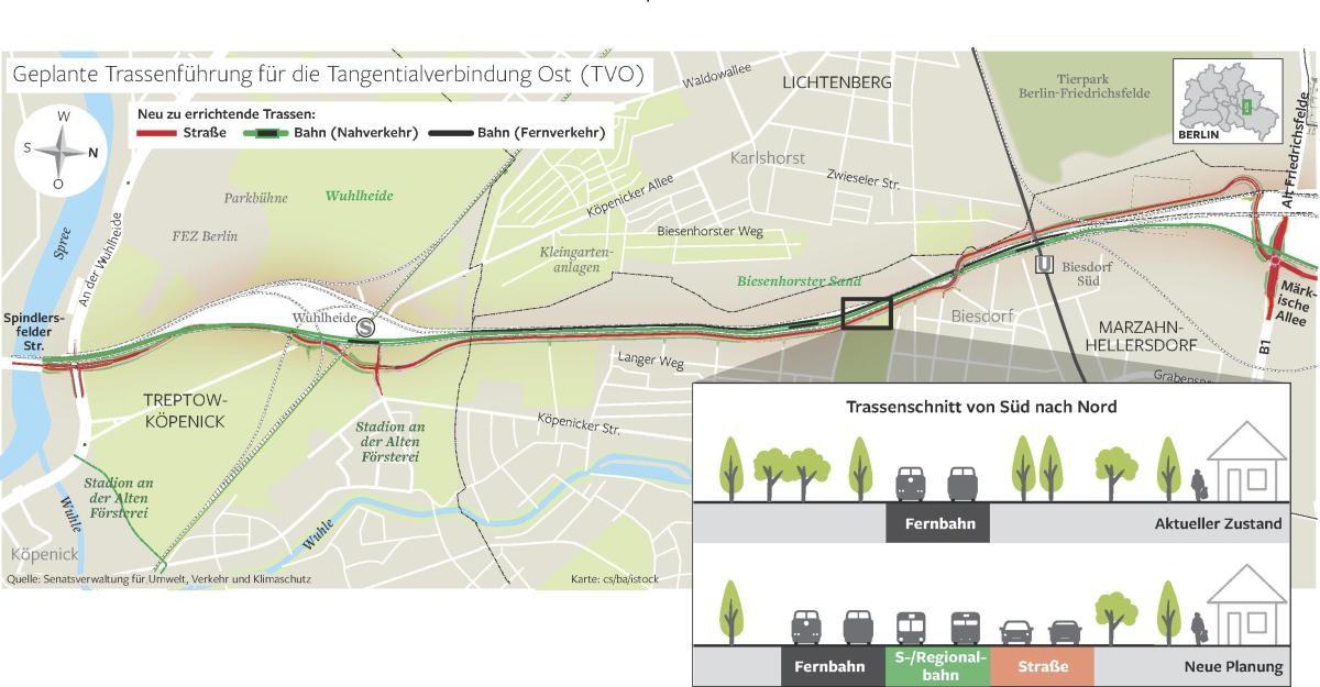 Damit neben der Tangentialverbindung Ost (TVO) Platz für die Nahverkehrstangente ist, muss eine neue Fernbahnstrecke gebaut werden.