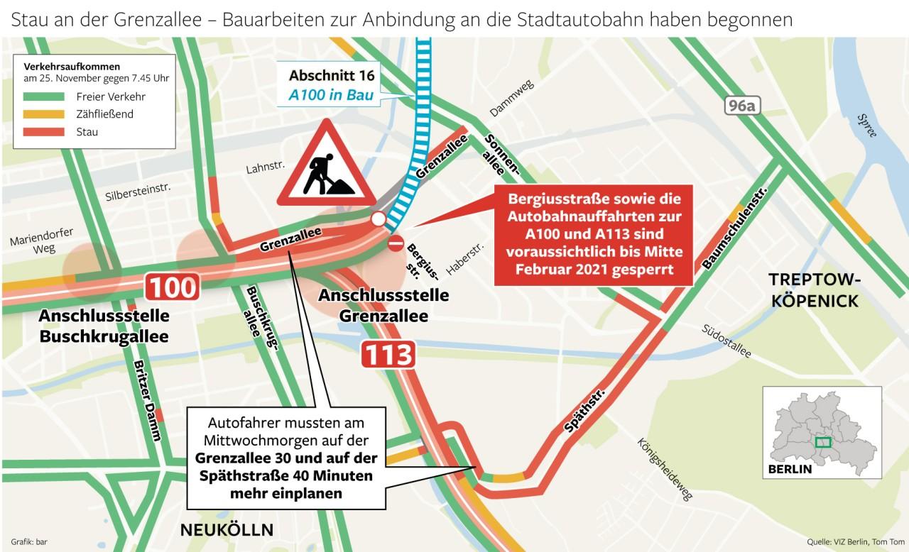 Stau an der Grenzallee - Bauarbeiten zur Anbindung an die Stadtautobahn haben begonnen