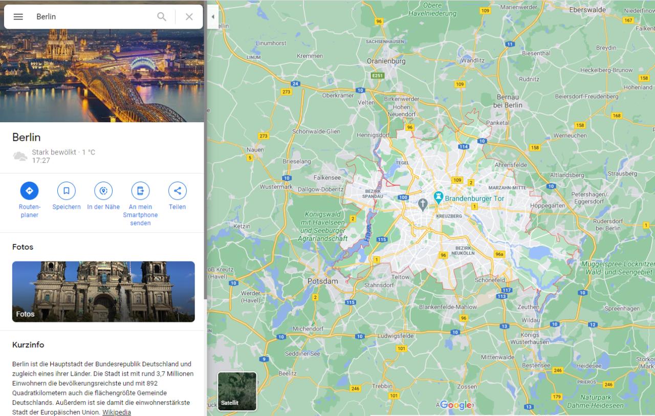 Die Stadtansicht zu Berlin auf Google Maps zeigt den Kölner Dom.