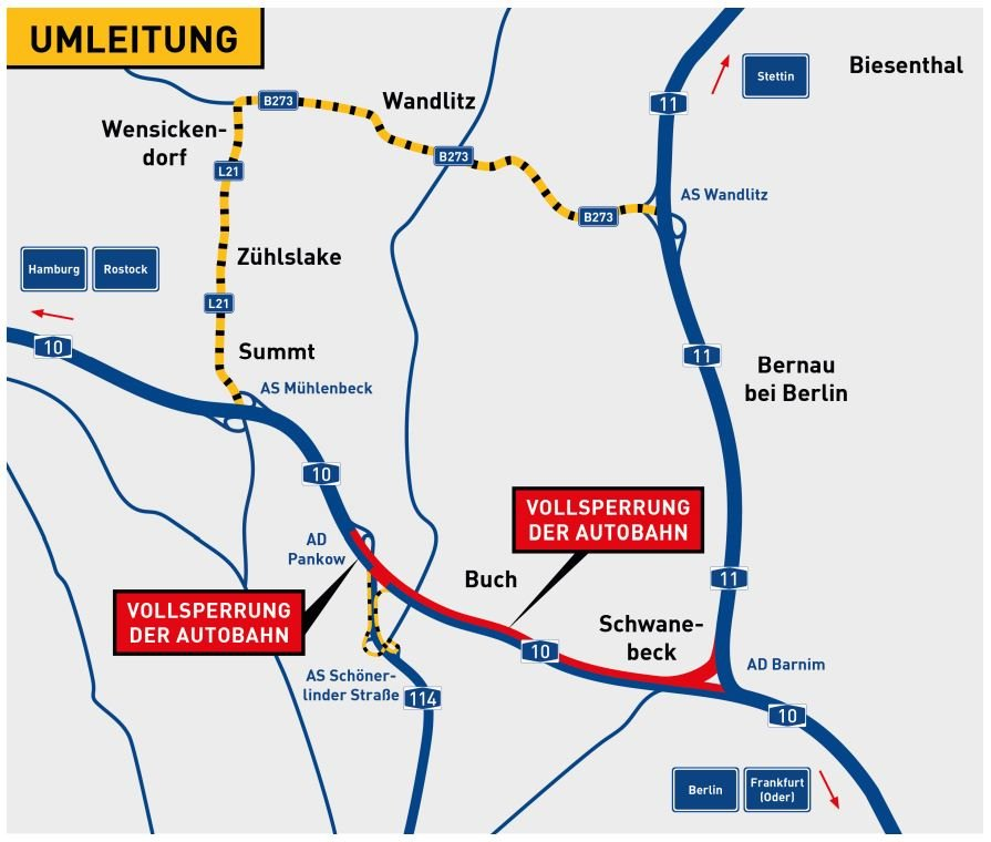 Diese Umleitungen werden während der Sperrung der A10 (Nördlicher Berliner Ring) eingerichtet.