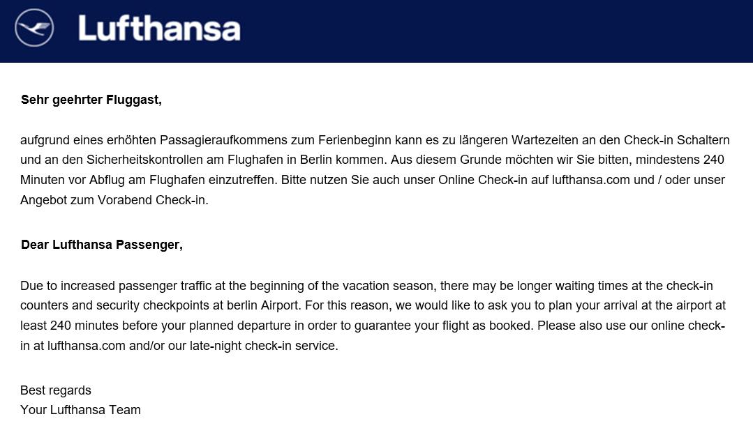 Diese Mail verschickte Lufthansa an Reisende.
