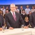 Die Spitzenkandidaten für die Berliner Abgeordnetenhauswahl Ramona Pop (l., Grüne), Frank Henkel (CDU) und Michael Müller (r., SPD)