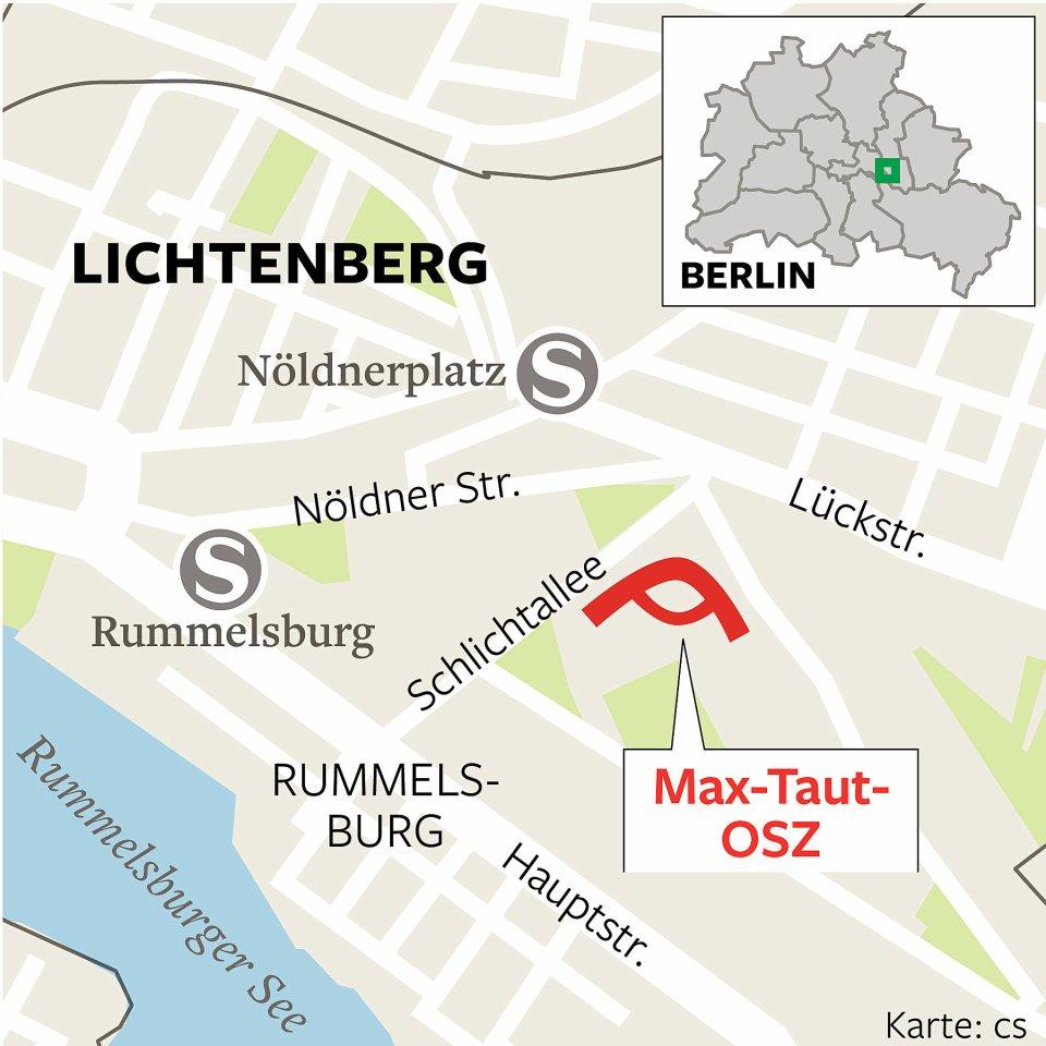 Die Karte zeigt, wo sich die Max-Taut-Schule in Rummelsburg befindet.