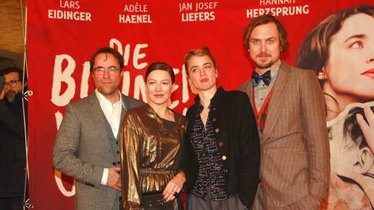 Jan Josef Liefers, Hannah Herzsprung, Adèle Haenel und Lars Eidinger (v.l.) froren zur Premiere